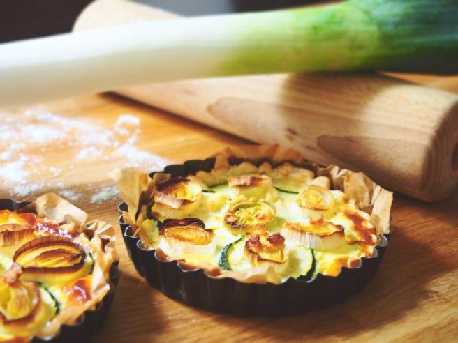 Tartelettes courgette, poireau et feta